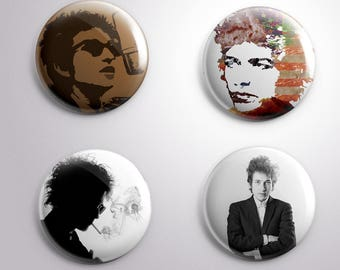 4 BOB DYLAN pins / buttons / magnets - MUSIC -  Different options