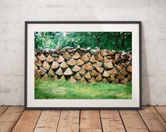 Wood, Firewood, Wall Art, Nature Landscape Photography, Art Prints, Wall Decor