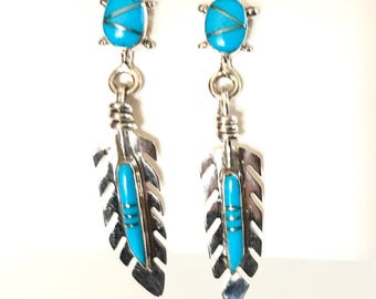 Feather Turquoise Dangle Earrings