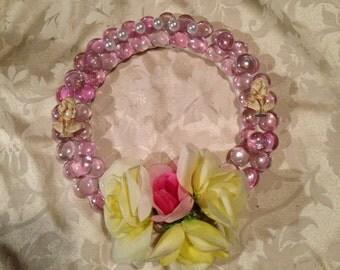 gemstone wreath; flower wreath; spring wreath; fancy wreath; Easter wreath; dollhouse miniature wreath; pink wreath; bathroom wreath