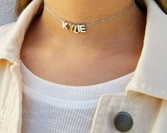 Name Choker Initial Choker Customized Choker Capital Letter Necklace Silver Choker Necklace Personalized Gothic Choker Custom Necklace