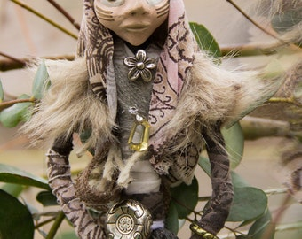 Wiccan art doll Amira the earth coloured holy woman