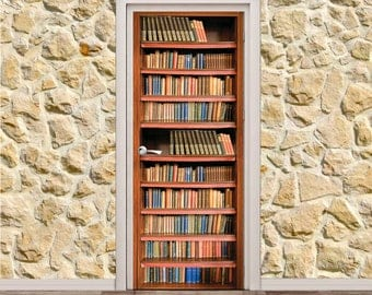 "Bookcase Door Poster/Sticker (30"" x 79"" 