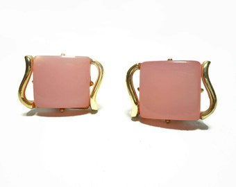 Vintage 50's Gold Tone Pink Moonglow Lucite Clip On Earrings Mid Century Mad Men Bridesmaids Wedding Spring Easter