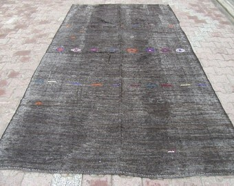 6.5x10.3 Ft Goat hair vintage black kilim rug with colorful embroidery