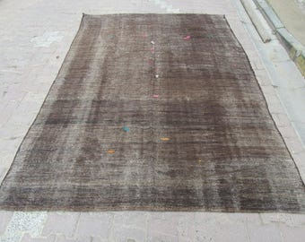 7x10 Ft Dark Brown Vintage Decorative Modern Turkish Kilim Rug