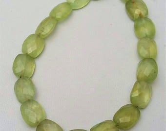 "1 strand Natural PREHNITE faceted nuggets, Prehnite faceted beads, --- 9x11 mm  8.5"" strand,[E0803]very good quality prehnite"