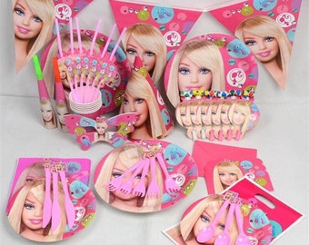 Barbie complete girls birthday party supplies set