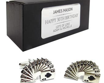 Pack of cards, gamblers, casino CUFFLINKS 30th, 40th, 50th, 60th, 70th birthday gift, presentation box PERSONALISED ENGRAVED plate - 015