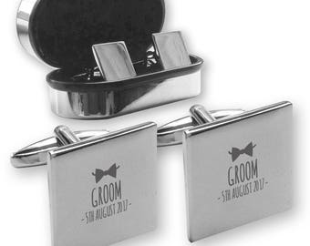 Personalised engraved GROOM wedding cufflinks, in a chrome coloured presentation box, bow tie - BW8