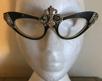 Vintage Glamorous diamanté Cat Eye glasses frame