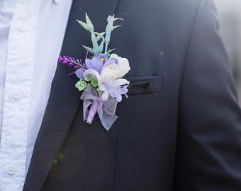 Groom Boutonniere, Groomsmen Boutonniere, Purple boutonniere