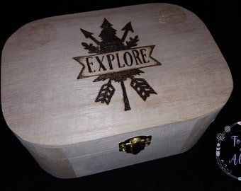 Keepsake Box, Adventure, Treasure box, Memory Box, Explore, Travel, Trinket box, Journey, Wooden Box, Treasure chest