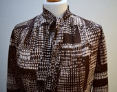 Vintage 1970s Brown and White Patterned Dress with Neck Tie  Patterned Long Sleeve Long Elegant KneeLength MidLength