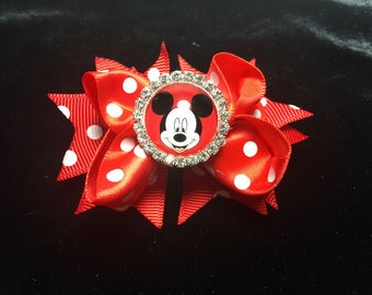 Mickey Mouse Red Bow Handmade Hair Bow w/ Rhinestone Embellishment Cabochon Red White Polka Dots Ribbon