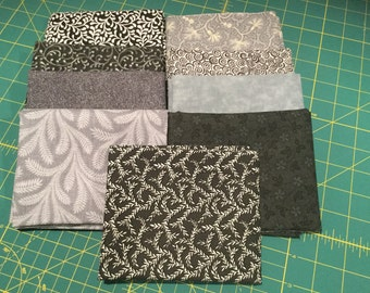 Fat Quarters 9 Black and Gray Coordinated Colors