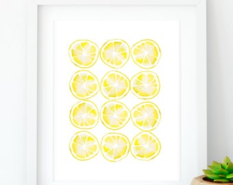 Lemon kitchen print, Kitchen printable, Farmhouse style, Rustic home decor, Lemon yellow kitchen, Lemon wall art, Large abstract decor