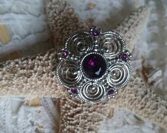 Vintage purple flower - flower brooch, PIN with purple stones, PIN