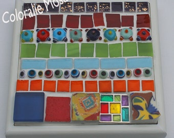 Small colourful mosaic box single - 13.5 x 13.5 cm