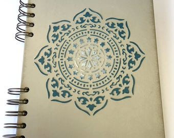 Notebook painted Mandala, made, hand painted with chalk paint, motif embossed mandala, Original, exclusive, custom