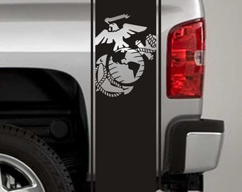 Truck Bed Stripe Decals - USMC Marines Globe & Anchor Stickers - Universal Fit (Pair x2)