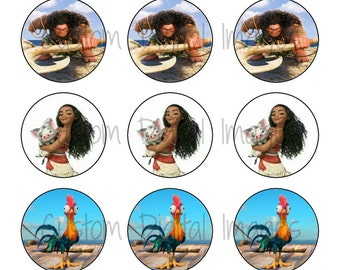 "INSTANT DOWNLOAD Princess Moana Bottle Cap Image Sheet | Digital Image Sheet | 4""x6"" Sheet with 15 Images"