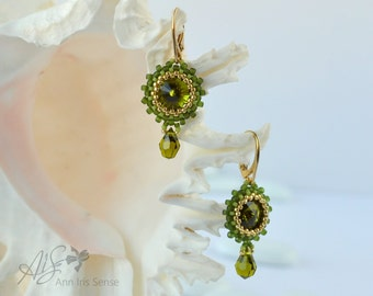 Olivine Swarovski Crystal Earrings, Swarovski Crystal Beaded Jewerly, Gold Plated Sterling Silver, Drop Swarovski Earrings, Gift for Her