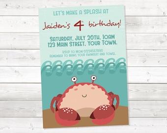 Boy Crab Birthday Invitation, Under The Sea Birthday Invitation, Sea Animals Birthday Invitation, Printable, Personalized
