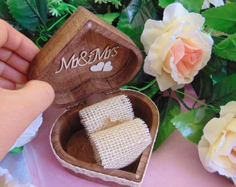 Rustic Wedding Ring Box, Engagement Ring Box, Personalized, Ring Bearer, Ring Holder,Heart Ring Box,Wooden Ring Bearer,Ring Pillow,Wood
