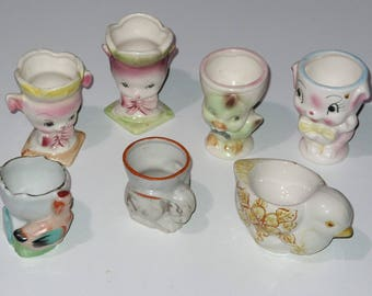Egg Cup Holder Vintage Collectible Lot Of 7 Japan Mouse Chick Chicken Rabbit Easter eggs