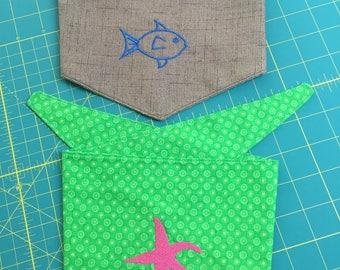 Custom Dog Bandana Starfish Fish Beach Summer Fun