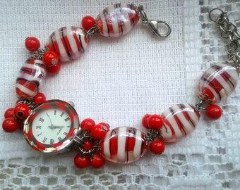 Watch bracelet Womens red watch Watch red lampwork Red jewelry
