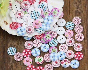 100 Pcs Decorative Painted Wooden Buttons