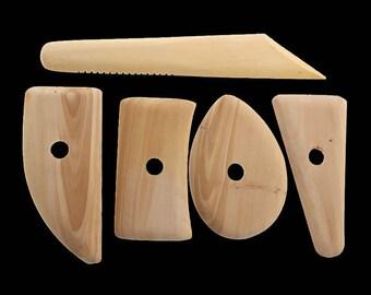 5 Pcs Wooden Pottery Clay Sculpting Tools