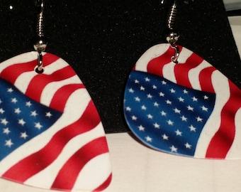 Celebrate your pledge of allegiance flag guitar pic earrings