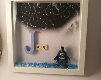 Boy's Super hero Scrabble Name keepsake/gift frame.