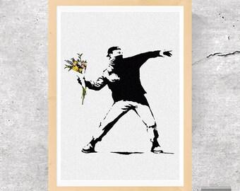 Banksy, Bansky Print, Banksy Poster, Banksy Rage, Banksy Flower Thrower, Banksy Flower Bomber, Street Art, Graffiti Art, Stencil Art