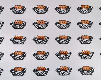 Laundry ginger cat functional planner sticker sheet, Erin Condren, Recollections, Happy Planner (HW1)