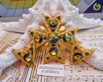 stunning vintage nwt new signed Weiss rivoli watermelon set brooch pin earring maltese cross