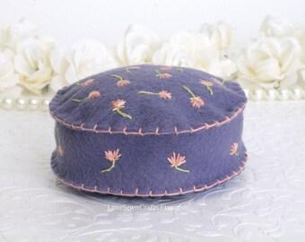 Handmade Pincushion, Felt Pincushion, Handmade Felt Pincushion, Pincushion, Flower pincushion, Hand embroidered Pincushion,