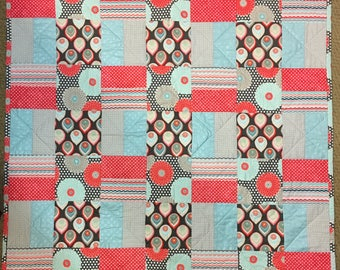 Coral and Turqoise Handmade Flower Quilt