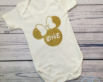 Disney Minnie Mouse, gold glitter, cake smash, first birthday, Mile Stone vests