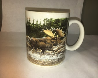 Vintage Collectible Bull Elk Wldlife Mug Cup Crossroads made in China