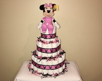 Minnie Mouse Diaper Cake - Pink & Black - Babyshower - Centerpiece - Pampers - Baby Girl