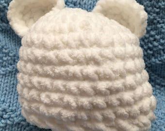 Newborn Baby Bear Hat, White