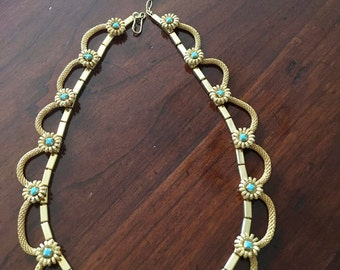Gorgeous golden necklace with anthracite coloured stones
