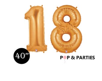 """SHIPS FAST - Giant Gold Number 18 Balloons, 40"""" Gold Balloons, Gold Decorations, Giant Number Balloons, Gold Party Decorations"""