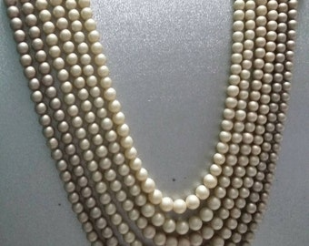 Vintage six strand faux pearls signed