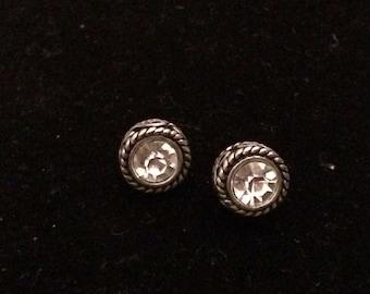 Pewter Color /Silvertone Decorative Border Rhinestone Post Earrings