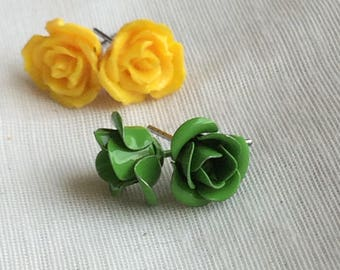 Yellow and Green Plastic? Rose Bloom Post Earrings